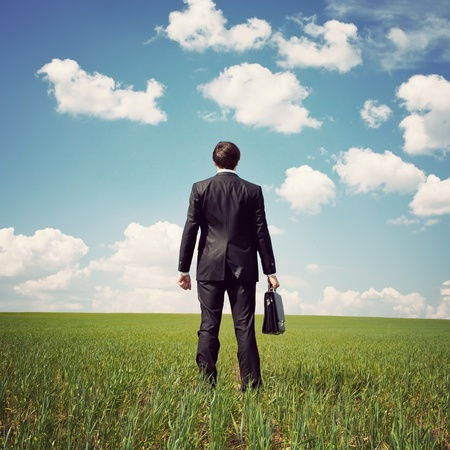 businessman standing: businessman standing in a field with a bag Stock Photo