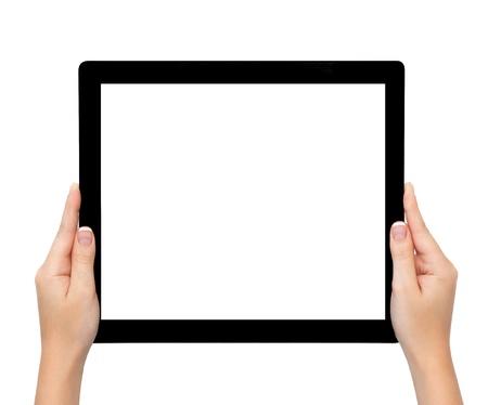 longer: isolated female hands hold longer banner computer tablet or frame