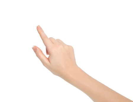 hand pointing: isolated female hand touching or pointing to something
