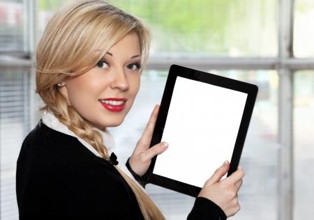 businesswoman holding a tablet closeup photo