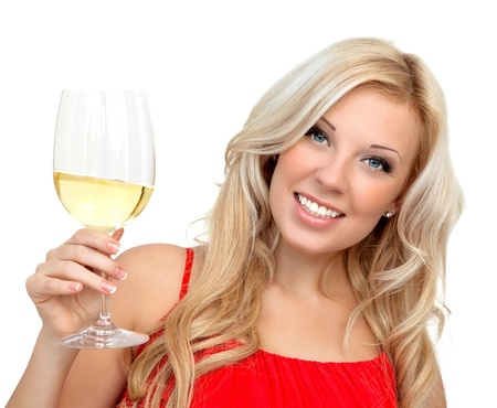 portrait of a beautiful blonde girl in a red dress with a glass of wine for the holiday Stock Photo - 18525188