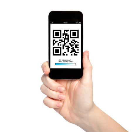 reader: woman hand holding a phone with qr code on the screen with a blue stripe scanning Stock Photo