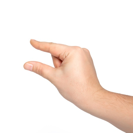 isolated male hand holding an object or pinch to zoom photo