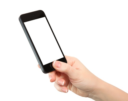 isolated woman hand holding the phone with isolated screen  photo