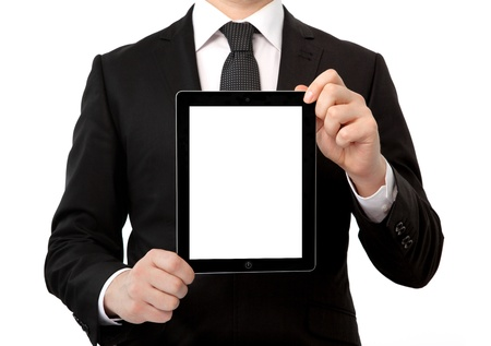 businessman in a suit holding a tablet computer with isolated screen photo