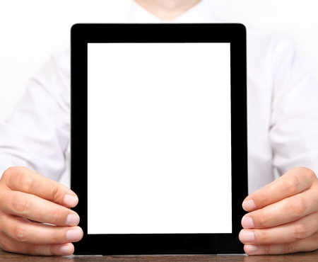 businessman holding a tablet computer with isolated screen  photo