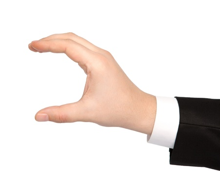 isolated hand of a businessman in a suit holding an object photo