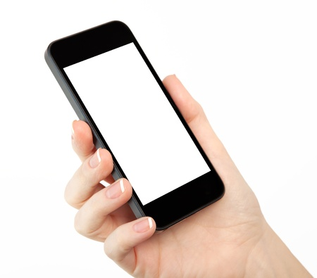 hand holding phone: isolated woman hand holding the phone with isolated screen  Stock Photo