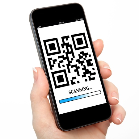 readers: woman hand holding a phone with qr code on the screen with a blue stripe scanning Stock Photo