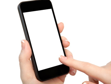 isolated woman hand holding the phone with isolated screen  Stock fotó