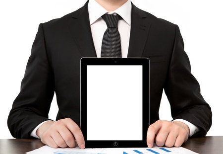 businessman in office holding tablet computer with isolated screen photo