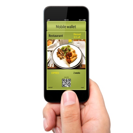 isolated man hand holding the phone touch with a mobile wallet and ticket discount in restaurant