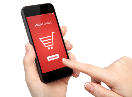 isolated woman hands holding touch phone and make online shopping photo