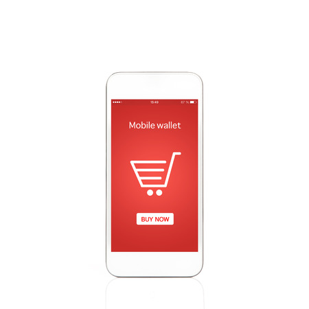 isolated white phone with mobile wallet onlain shopping on the screen photo