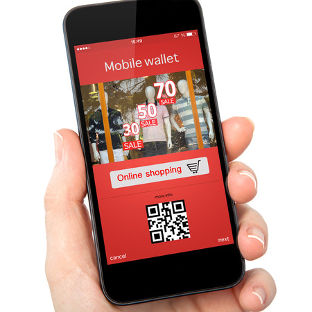 isolated woman hand holding the phone with mobile wallet onlain shopping on the screen photo