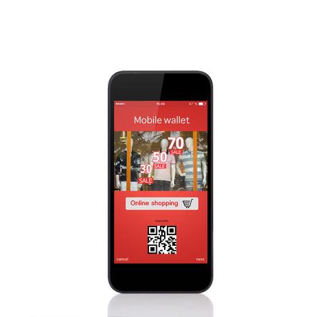 fiestas electronicas: teléfono móvil de contacto con la cartera comercial onlain en la pantalla Foto de archivo