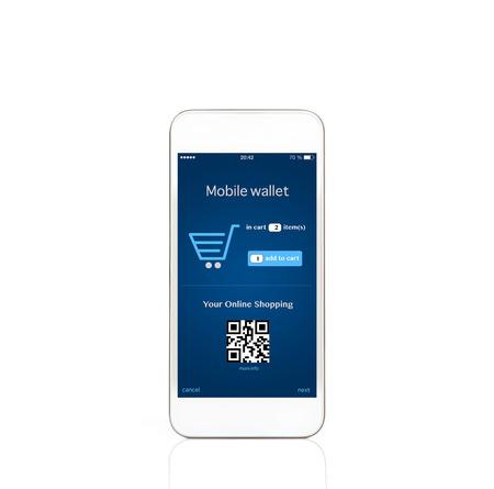 fiestas electronicas: aislado teléfono móvil touch blanco con billetera móvil comercial onlain en la pantalla