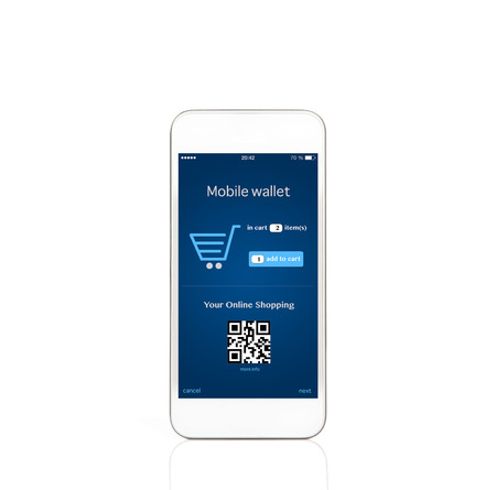 isolated mobile white touch phone with mobile wallet onlain shopping on the screen photo