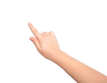 고립 된 아이의 손을 만지거나 뭔가를 가리키는