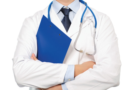 The doctor in a white coat with a stethoscope holding a blue folder photo