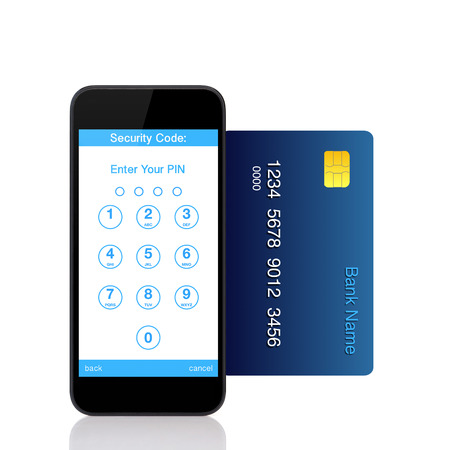 Isolated touch phone with buttons for the pin code on the screen and a blue credit card photo