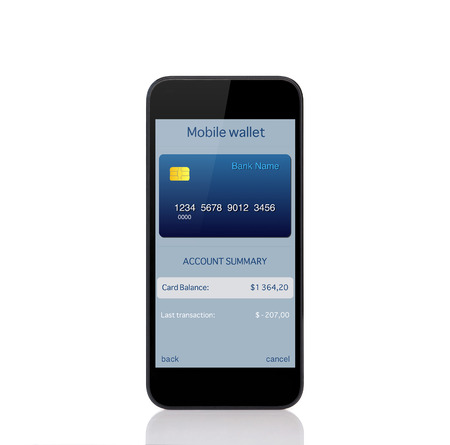 touch phone with mobile wallet onlain shopping on the screen photo