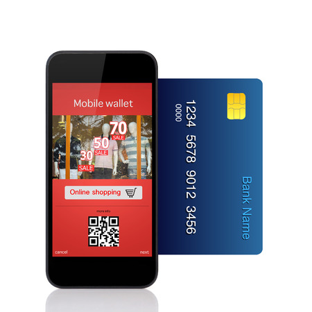 commits: Isolated phone commits online purchase with credit card Stock Photo