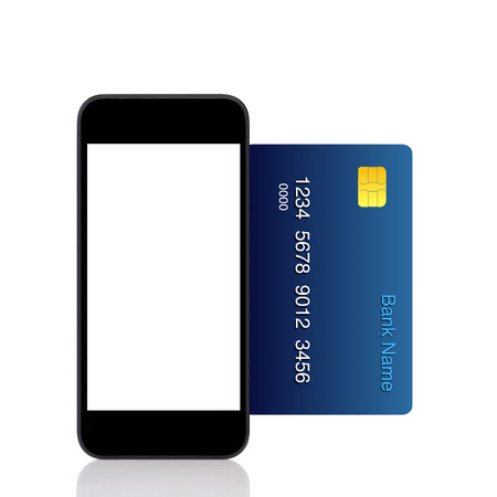 Isolated touch phone and a blue credit card  photo