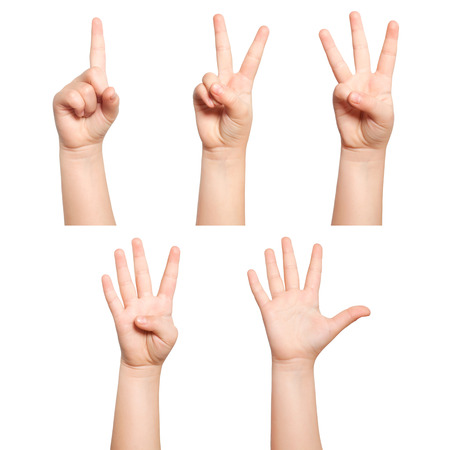 number three: isolated children hands show the number one two three four five