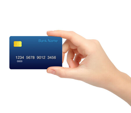card holder: isolated female hand holding a credit card