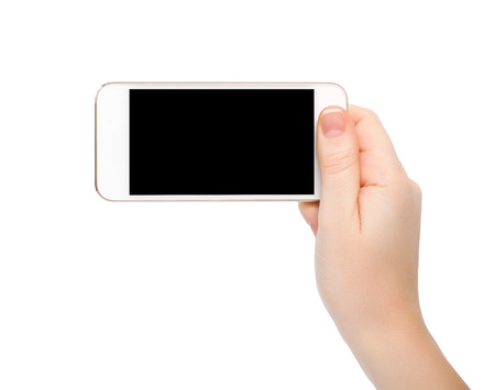 isolated female hand holding white touch phone with a black screen photo
