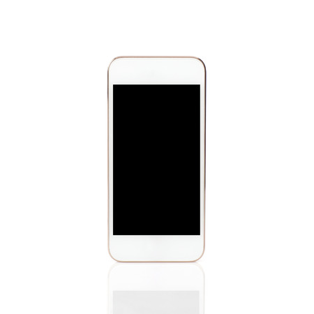 Isolated white touch phone with a black screen photo
