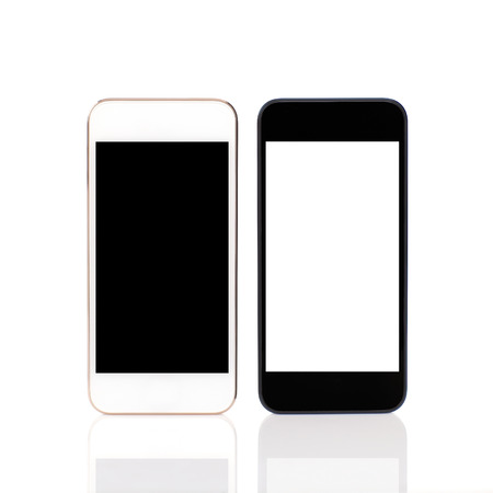 Isolated white and black touch phones  photo