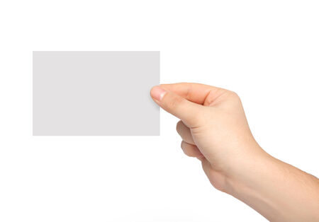 isolated man hand holding a piece of paper photo