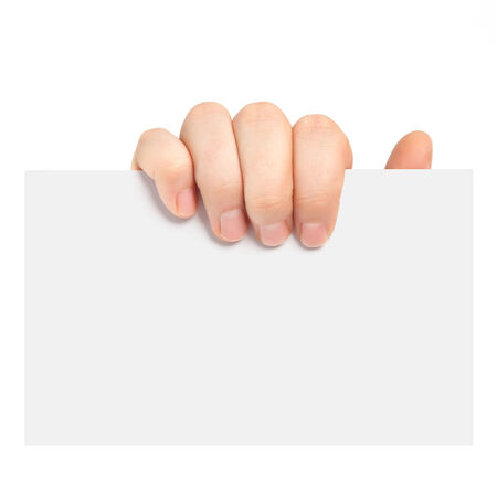 isolated mans hand holding a piece of paper photo