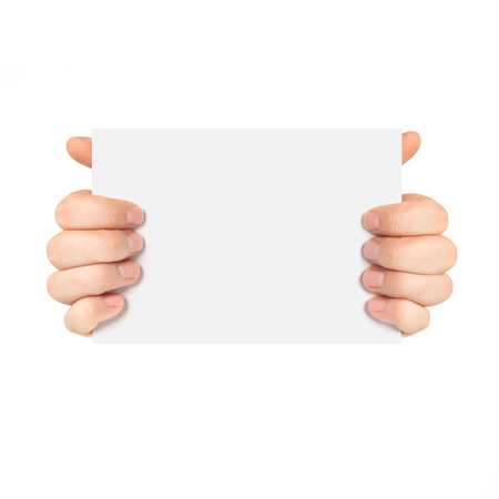 Isolated male hands holding a piece of paper photo