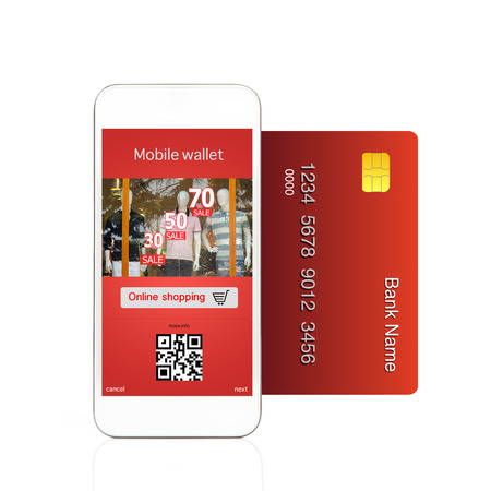 Isolated phone makes online purchase with credit card photo