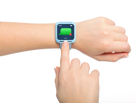 Isolated female hands with blue smartwatch with message on the screen photo