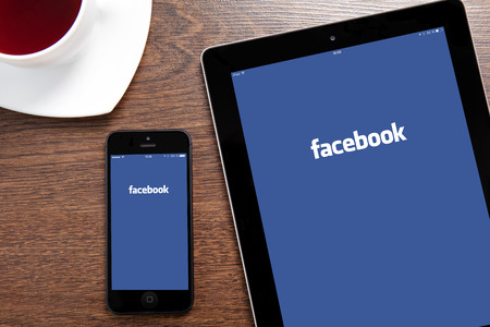 Simferopol, Russia - March 30, 2014: Facebook the largest social network in the world. It was founded in 2004 by Mark Zuckerberg and his roommates during training at the Harvard University. Stock Photo - 27001140