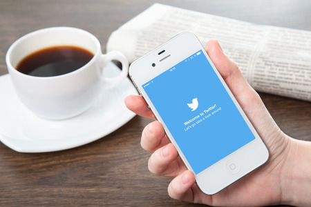 Simferopol, Russia - March 30, 2014: Twitter service of microblogging is created in 2006. Twitter service for a public exchange of short messages from 140 symbols.