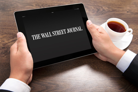 Simferopol, Russia - April 13, 2014  The Wall Street Journal is one of the largest and most influential American publications in English  Published in New York City since 1889