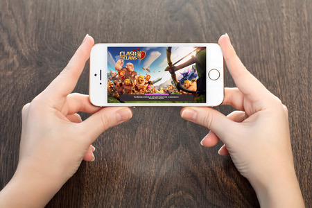 Simferopol, Russia - April 13, 2014  Clash of Clans is a popular online strategy game for iPad, iPhone and Android  Created by the Supercell company in 2012