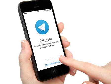 Simferopol, Russia - April 13, 2014  Telegram is free messenger from Pavel Durov for smartphones  Messenger allows you to exchange text messages and files