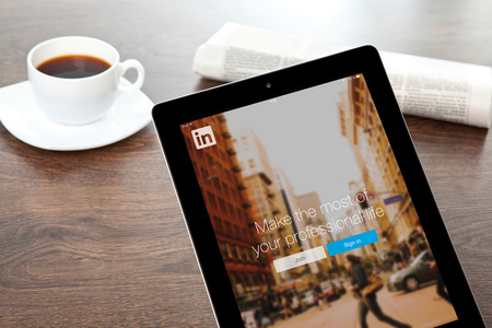 Simferopol, Russia - April 13, 2014  LinkedIn is a social network for search and establishment of business contacts  It is founded in 2002