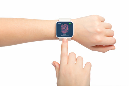communicator: Isolated female hands with white smartwatch with a fingerprint on the screen Stock Photo