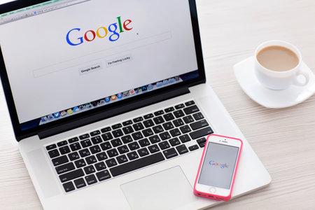 internet search: Simferopol, Russia - June 22, 2014  Google biggest Internet search engine  Google com domain was registered September 15, 1997