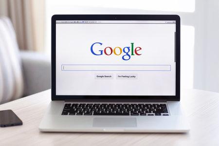 Simferopol, Russia - July 13 2014  Google biggest Internet search engine  Google com domain was registered September 15, 1997
