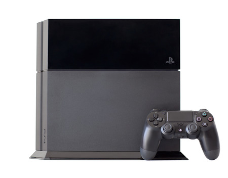 playstation: Simferopol, Russia - August 8, 2014  Sony PlayStation 4 game console of the eighth generation  The official announcement took place on February 20, 2013