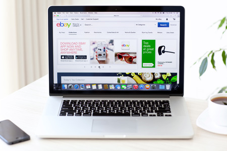 Simferopol, Russia - August 7, 2014: eBay the American company that provides services in the areas of online auctions, online shopping, instant payments.