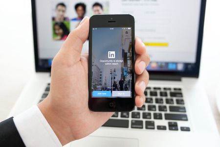 Simferopol, Russia - August 10, 2014: LinkedIn is a social network for search and establishment of business contacts. It is founded in 2002.